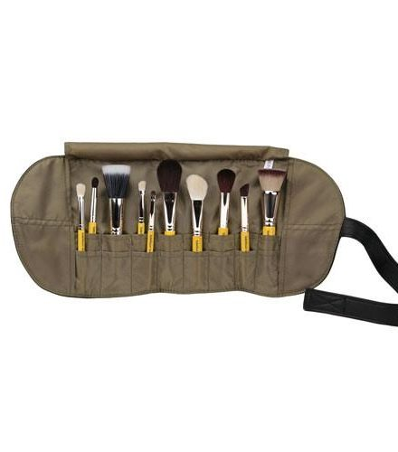 TRAVEL MINERAL 10PC. BRUSH SET WITH ROLL-UP POUCH